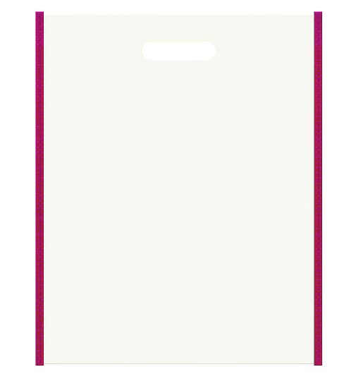 医療セミナーにお奨めの不織布小判抜き袋デザイン。メインカラー濃いピンク色とサブカラーオフホワイト色の色反転