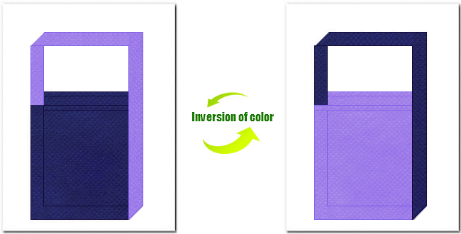 明紺色と薄紫色の不織布ショルダーバッグのデザイン:浴衣風の配色です。