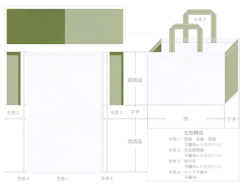 オープンキャンパスのバッグにお奨めの不織布バッグデザイン(生物工学・バイオ):白色と草色の不織布に半透明フィルムを加えたカラーシミュレーション