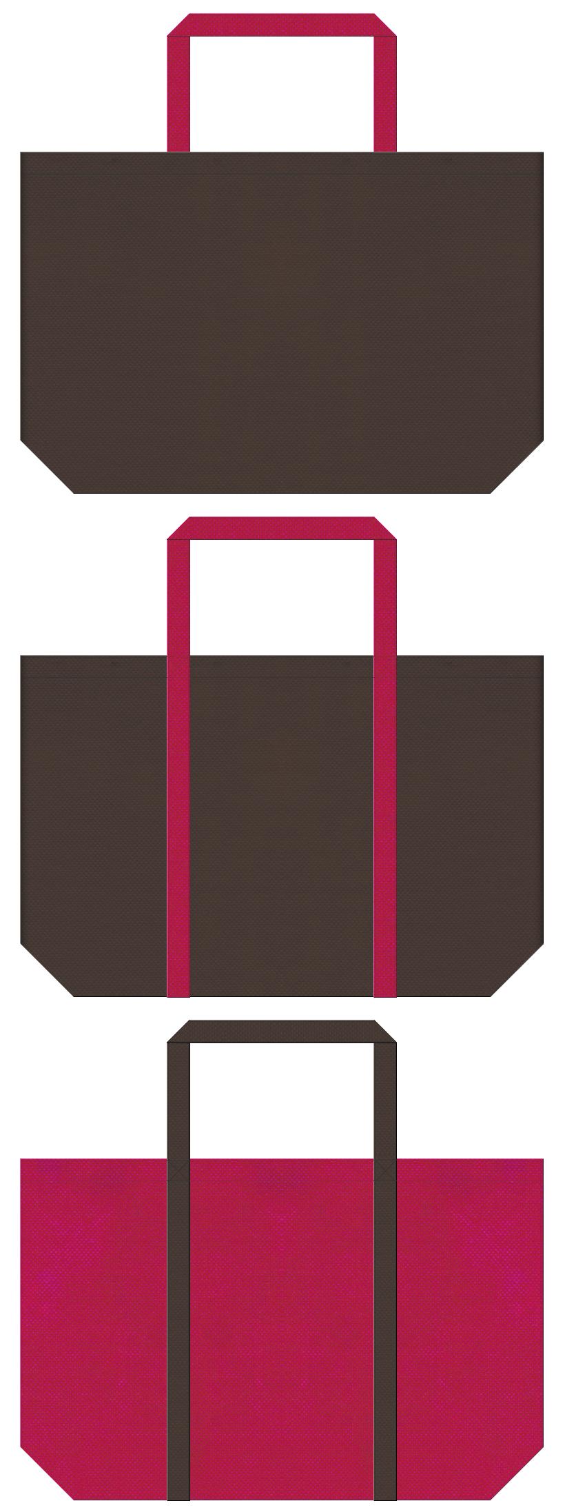和風催事・振袖・梅・姫・ゲーム・ネイル・靴・ウィッグ・コスプレイベント・南国・ハワイアン・アロハシャツ・トロピカル・観光リゾート・トラベルバッグ・キャンプ・アウトドア・登山用品のショッピングバッグにお奨めの不織布バッグデザイン:こげ茶色と濃いピンク色のコーデ