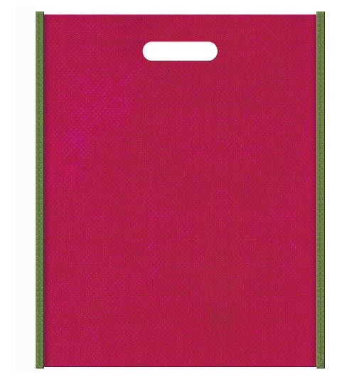 和風柄にお奨めの配色です。不織布小判抜き袋 メインカラー濃いピンク色とサブカラー草色