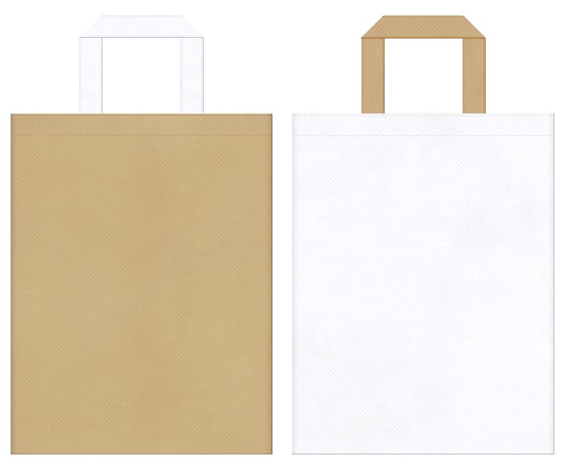 ロールケーキ・スイーツにお奨めの不織布バッグデザイン:カーキ色と白色のコーディネート