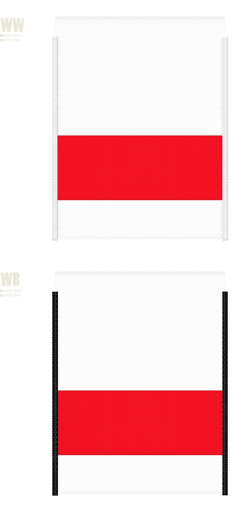 白色メッシュと赤色不織布のメッシュバッグカラーシミュレーション:キャンプ用品・アウトドア用品・スポーツ用品・シューズバッグ・クリスマスのショッピングバッグにお奨め