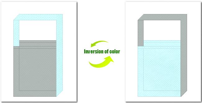 グレー色と水色の不織布ショルダーバッグのデザイン