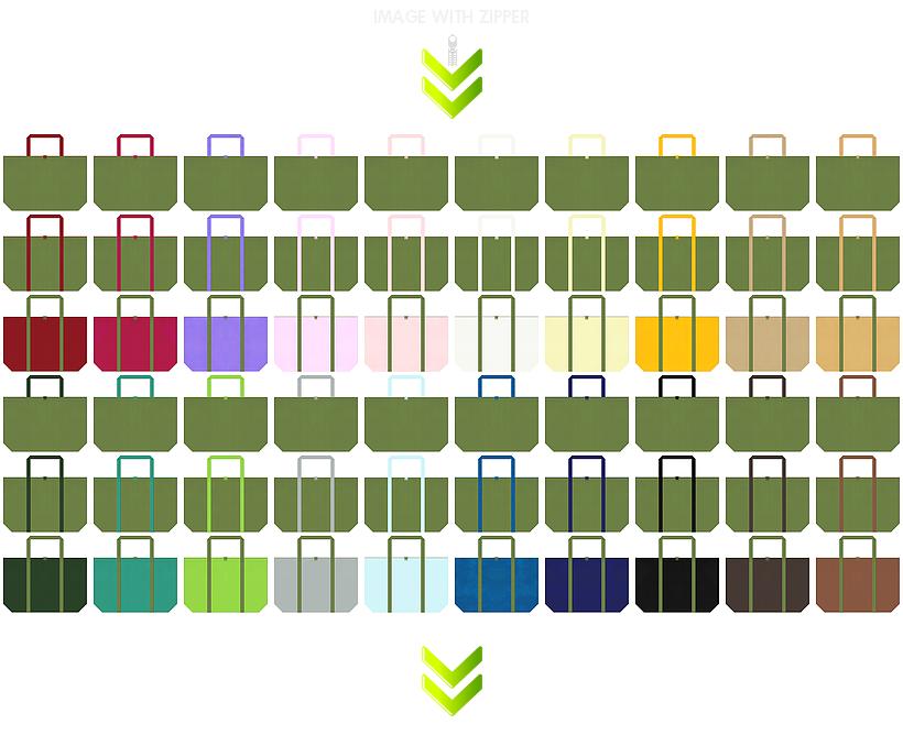 和風エコバッグにお奨めのファスナー付き不織布バッグのデザイン:草色のコーデ