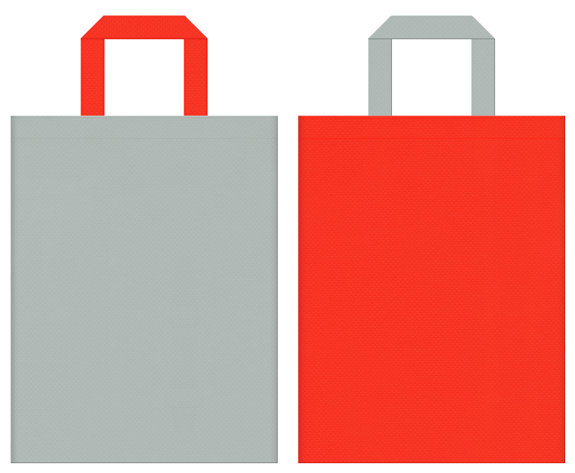 不織布バッグの印刷ロゴ背景レイヤー用デザイン:グレー色とオレンジ色のコーディネート:ロボット・ラジコン・プラモデルの販促イベントにお奨めの配色です。