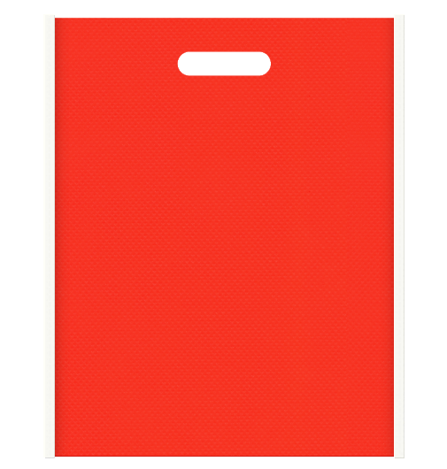 レシピイベントにお奨めの不織布小判抜き袋 メインカラーオレンジ色とサブカラーオフホワイト色