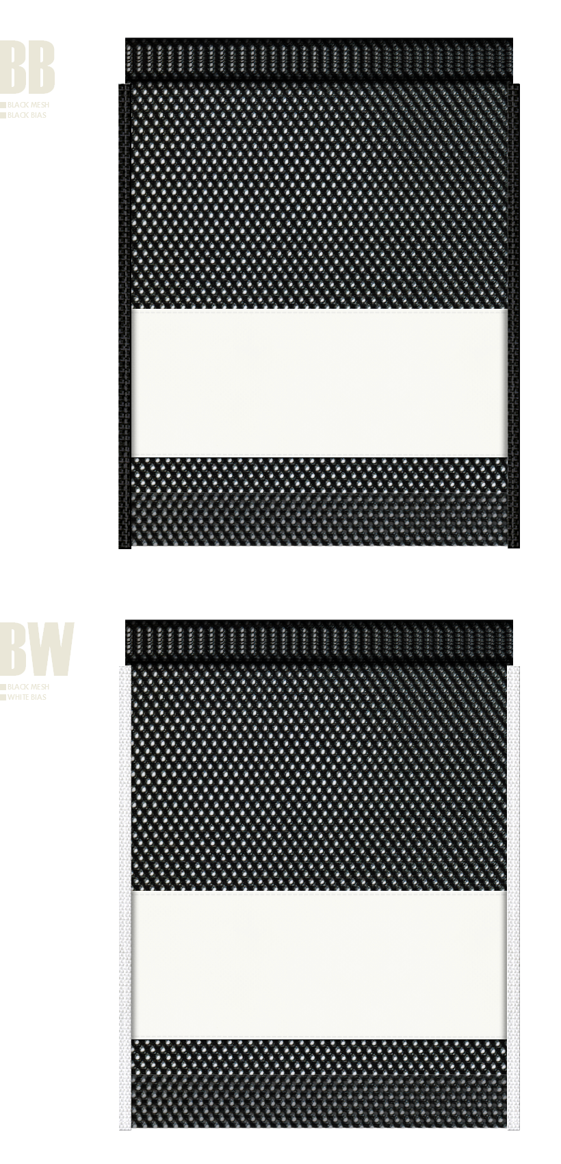 黒色メッシュとオフホワイト色不織布のメッシュバッグカラーシミュレーション:スポーツ用品・シューズバッグにお奨め
