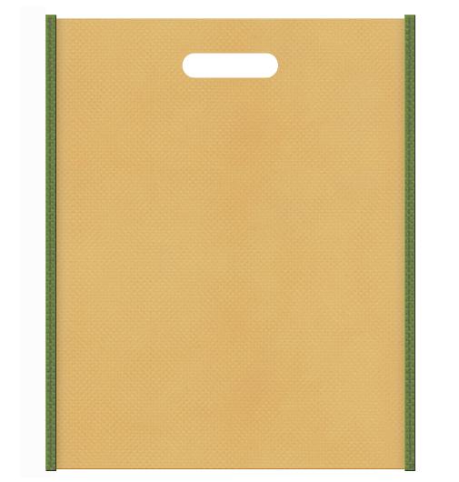 和風柄にお奨めの不織布小判抜き袋デザイン:メインカラー薄黄土色、サブカラー草色