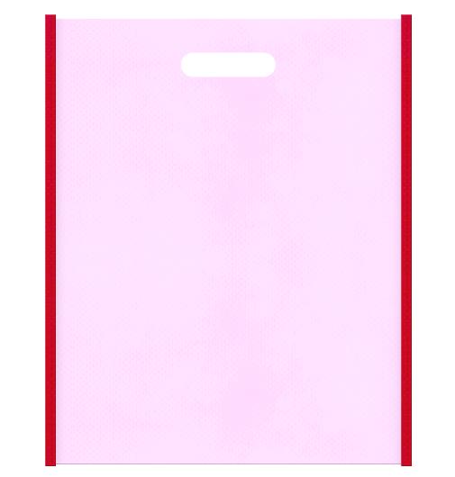 母の日ギフトにお奨めの不織布小判抜き袋のデザイン。メインカラー明るめのピンク色とサブカラー紅色