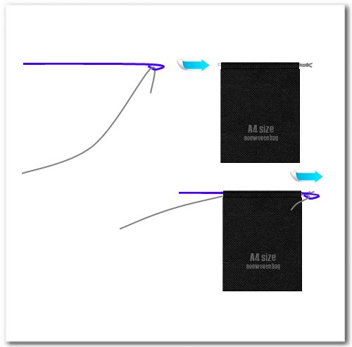 二本目の紐を袋状の前面口部へ通します。