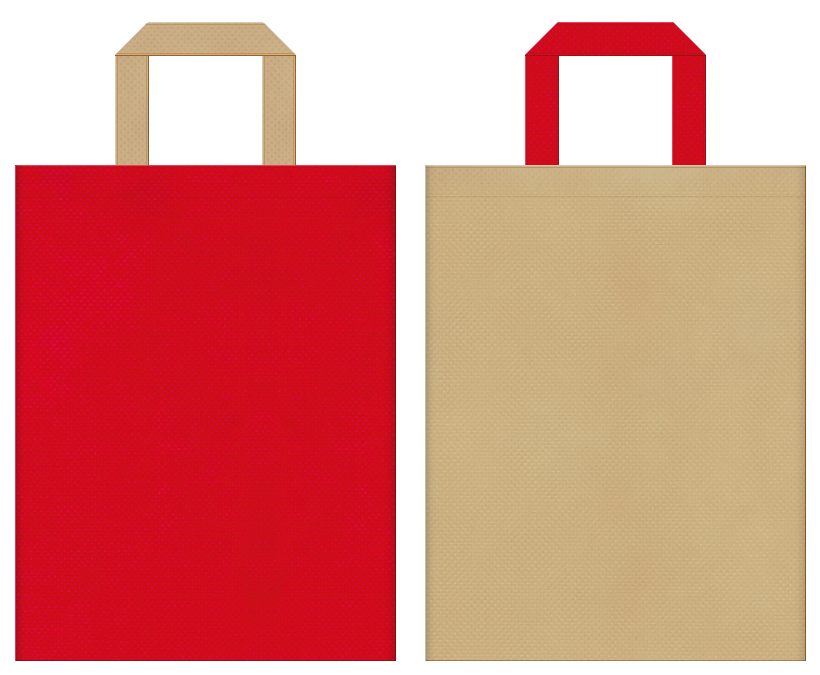 赤鬼・節分・大豆・一合枡・野点傘・茶会・御輿・お祭り・和風催事にお奨めの不織布バッグデザイン:紅色とカーキ色のコーディネート