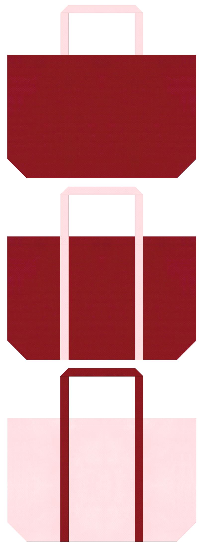 エンジ色と桜色の不織布ショッピングバッグのデザイン。和雑貨のショッピングバッグ・福袋にお奨めの配色です。