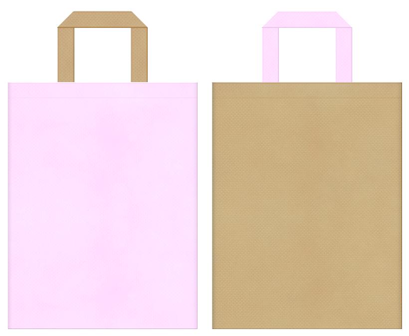 ペットショップ・ペットサロン・ペット用品・ペットフード・アニマルケア・ベアー・小鹿・ぬいぐるみ・手芸・ガーデニング・ガーリーデザインにお奨めの不織布バッグデザイン:パステルピンク色とカーキ色のコーディネート