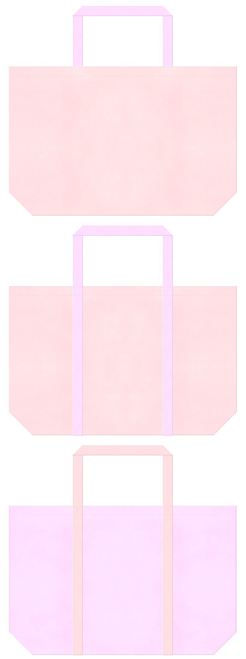 桜色と明るいピンク色の不織布ショッピングバッグデザイン。浴衣イメージ・ガーリーデザインにお奨めの配色です。