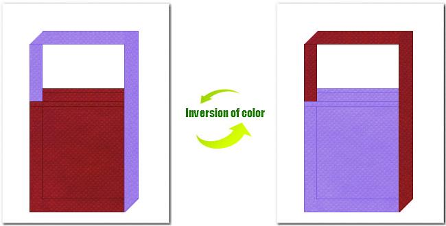 エンジ色と薄紫色の不織布ショルダーバッグ