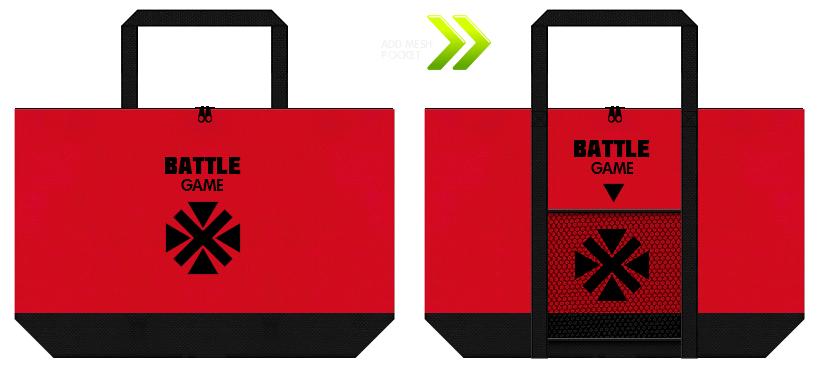 メッシュポケットを付けた不織布バッグのデザイン.6:格闘ゲームの展示会用バッグ