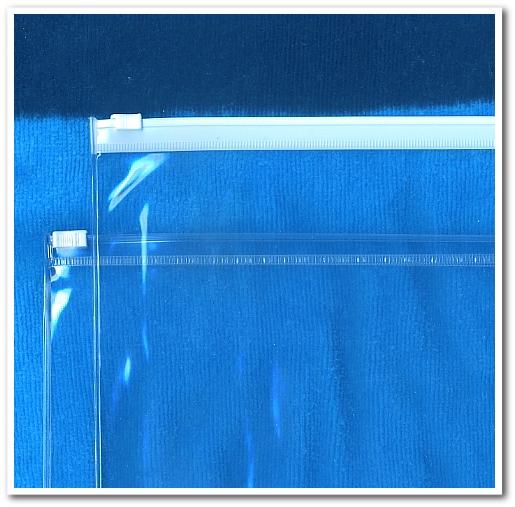 スライダーチャックのついた透明PVC袋
