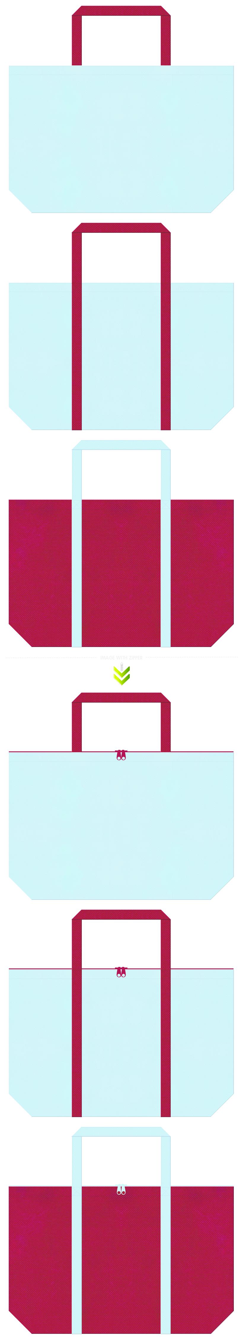 水色と濃いピンク色の不織布エコバッグのデザイン。