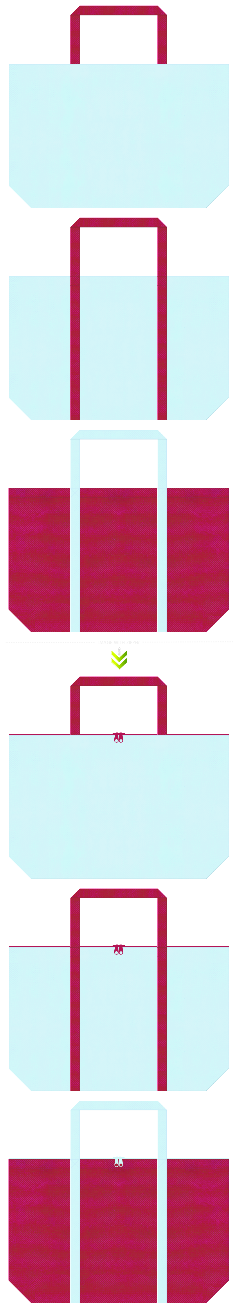 女王様・人魚・氷いちご・アイスキャンディー・フルーツカクテル・絵本・おとぎ話・ガーリーデザイン・夏浴衣のショッピングバッグにお奨め:水色と濃いピンク色のコーデ