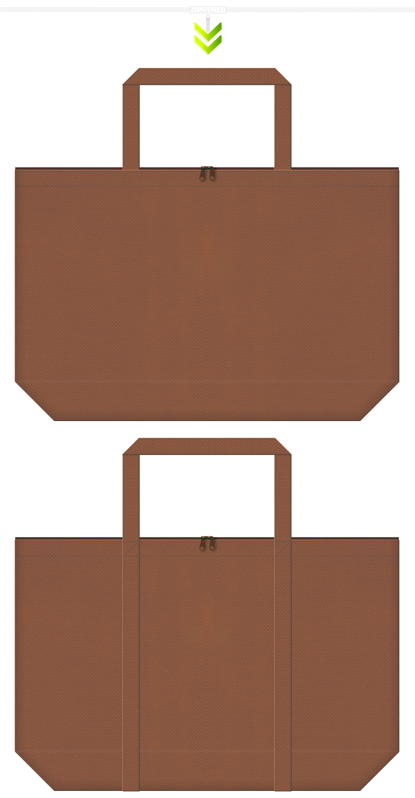 チョコレートカラーの不織布ショッピングバッグ