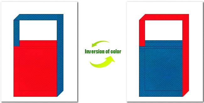赤色と青色の不織布ショルダーバッグ