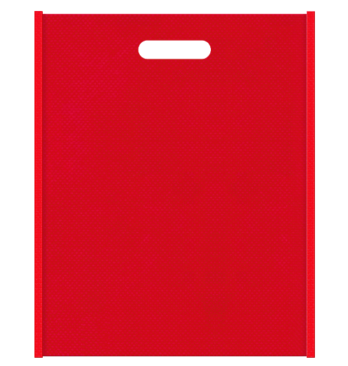 不織布小判抜き袋 メインカラー赤色とサブカラー紅色の色反転