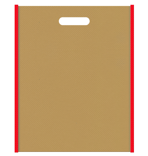 不織布小判抜き袋 メインカラーをマスタード色に、サブカラーを赤色に