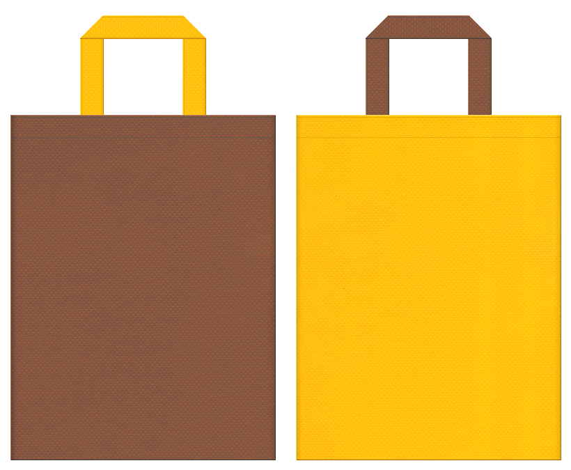 養蜂場・はちみつ・いちょうの木・サラダ油・フライヤー・バーベキュー・キャンプ用品・キッチン用品・和菓子・焼きいも・スイートポテト・カステラ・マロンケーキ・スイーツ・ベーカリーショップにお奨めの不織布バッグデザイン:茶色と黄色のコーディネート