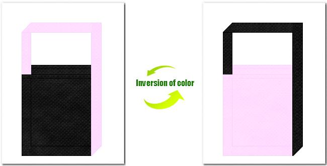黒色と明ピンク色の不織布ショルダーバッグのデザイン:スポーツイベントのノベルティにお奨めの配色です。