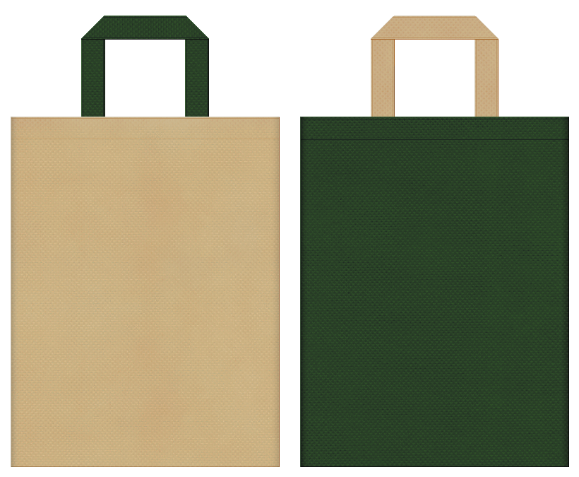 ジャングル・恐竜・サバンナ・サファリ・アニマル・アウトドア・キャンプ用品・動物園・探検・ゲーム・テーマパークのイベントにお奨めの不織布バッグのデザイン:カーキ色と濃緑色のコーディネート