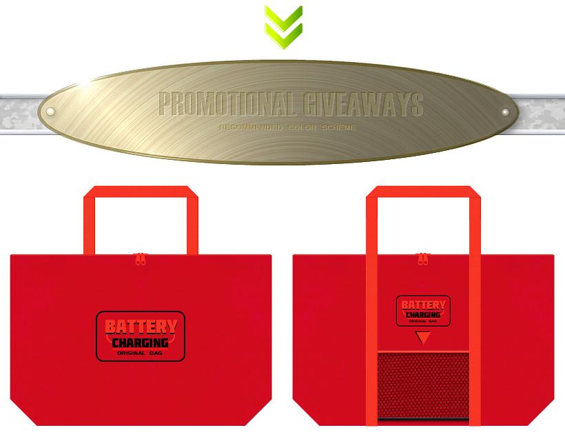 紅色とオレンジ色の不織布にメッシュポケットを付けたバッグデザイン:バッテリー・エネルギー・サプリメント・栄養ドリンクの販促ノベルティ
