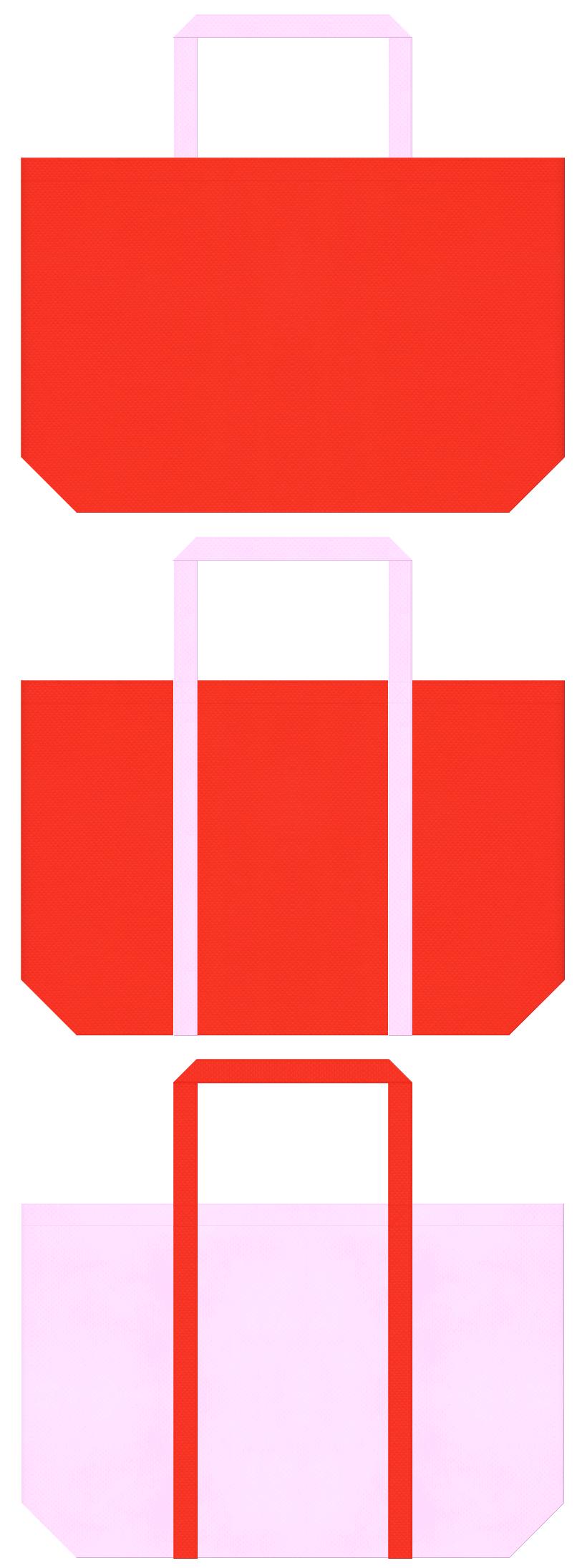 オレンジ色と明るいピンク色の不織布ショッピングバッグデザイン。