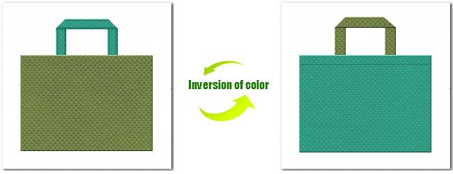 不織布No.34グラスグリーンと不織布No.31ライムグリーンの組み合わせ