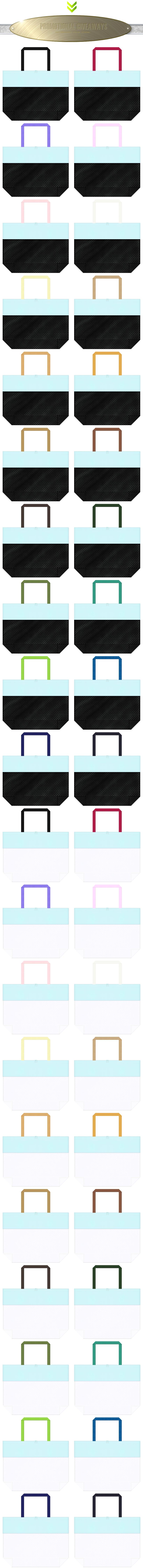 黒色メッシュ・白色メッシュと水色の不織布をメインに使用した、台形型メッシュバッグのカラーシミュレーション