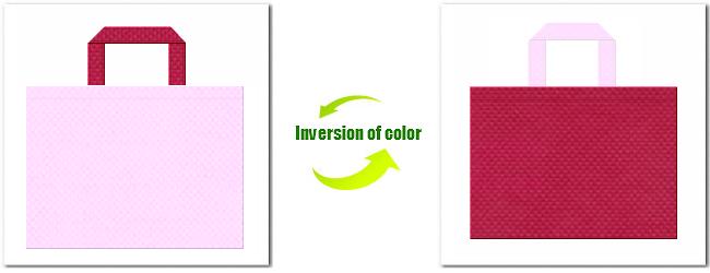 明るいピンク色と濃いピンク色の不織布バッグ