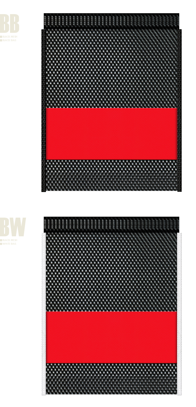 黒色メッシュと赤色不織布のメッシュバッグカラーシミュレーション:キャンプ用品・アウトドア用品・スポーツ用品・シューズバッグにお奨め