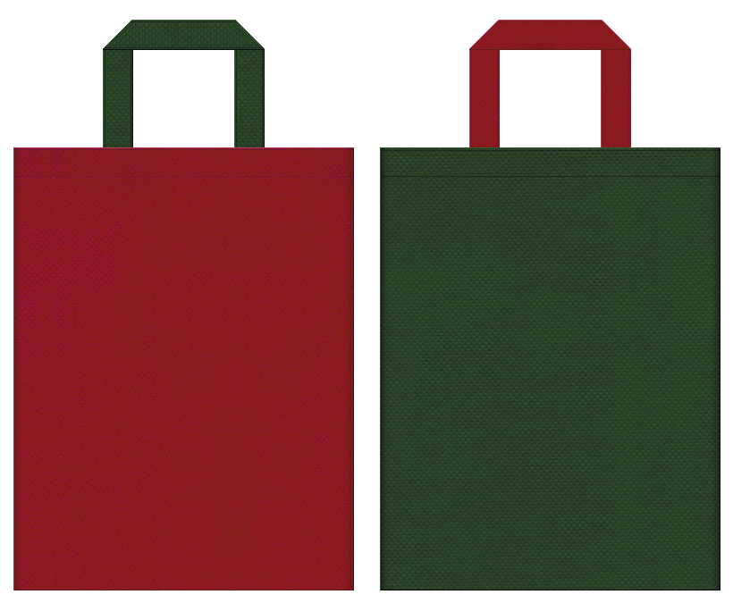 不織布バッグの印刷ロゴ背景レイヤー用デザイン:エンジ色と草色のコーディネート