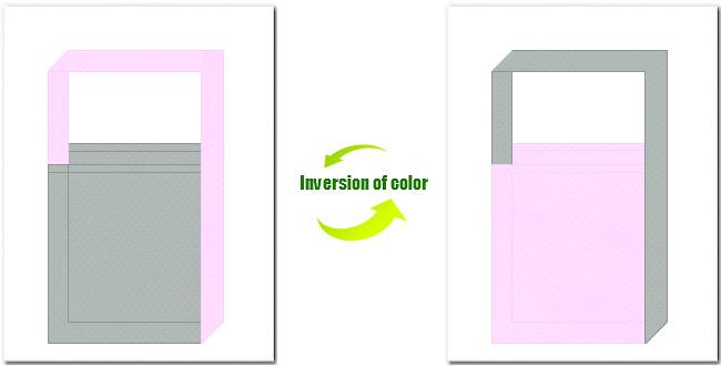 グレー色と明ピンク色の不織布ショルダーバッグのデザイン