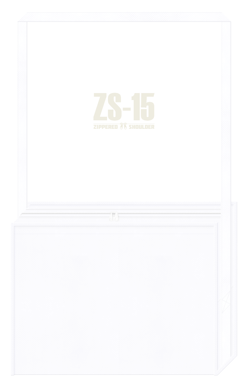 ファスナー付き不織布ショルダーバッグのカラーシミュレーション:白色