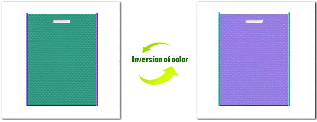 不織布小判抜平袋:No.31ライムグリーンとNo.32ミディアムパープルの組み合わせ