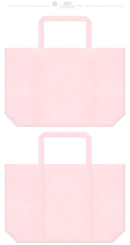 桜色の不織布ショッピングバッグ:水玉模様等のガーリーデザインにお奨めです。
