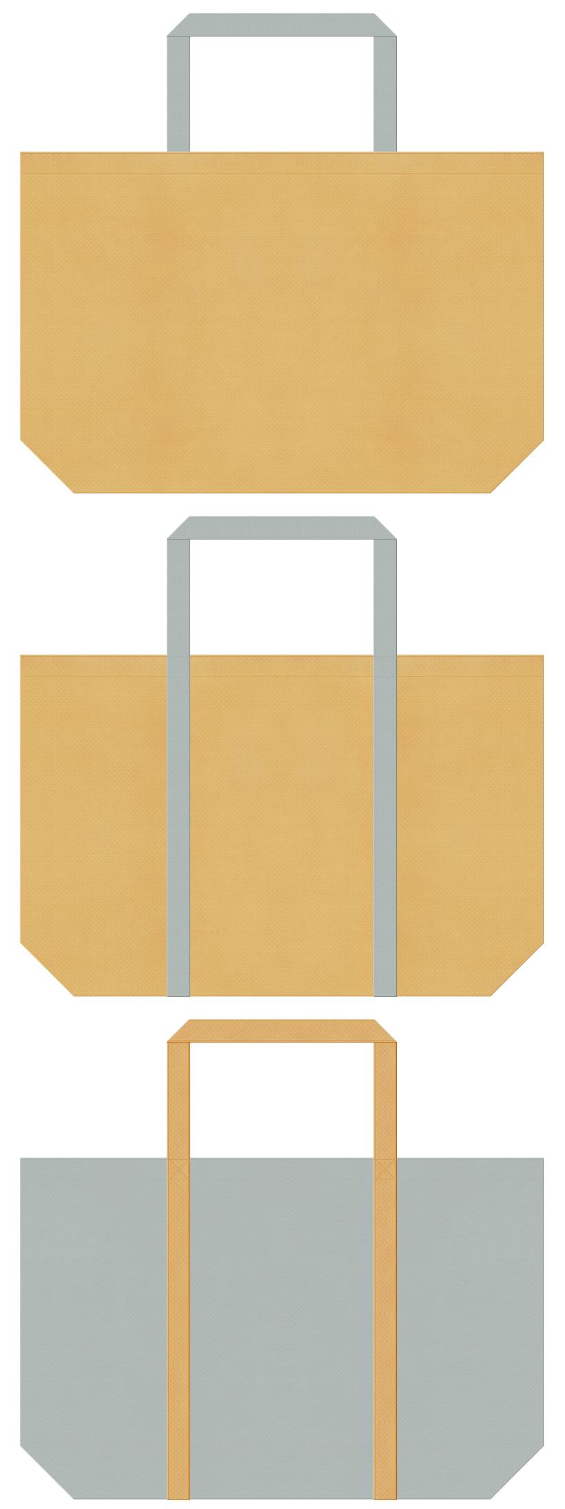 薄黄土色とグレー色の不織布ショッピングバッグデザイン。