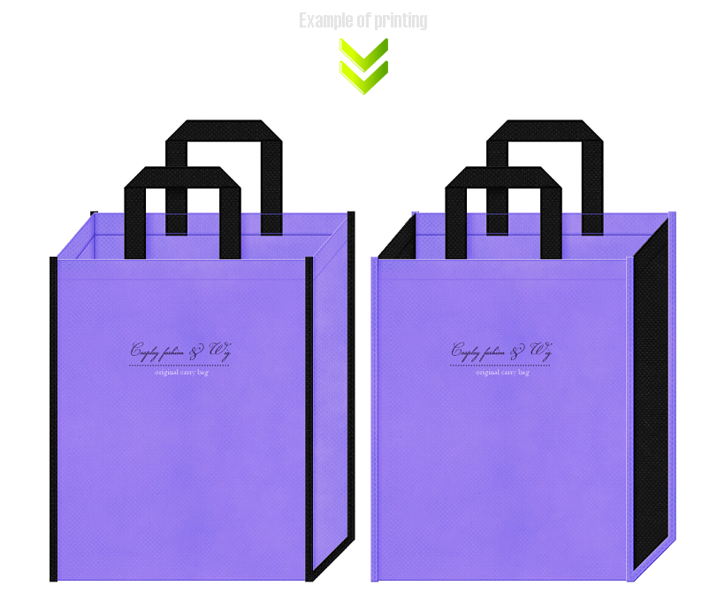 コスプレ衣装用不織布バッグのデザイン例