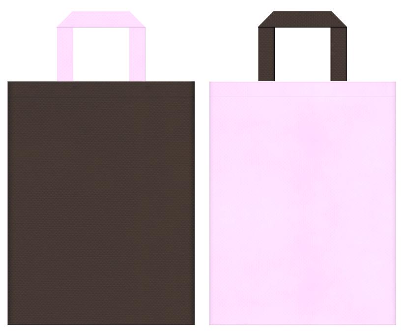 不織布バッグの印刷ロゴ背景レイヤー用デザイン:こげ茶色と明るいピンク色のコーディネート。こげ茶メインで夜桜風の配色に。ゲームの販促イベントにお奨めです。