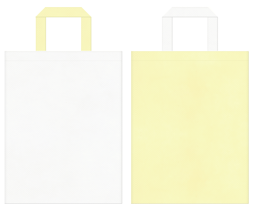 保育・福祉・介護・医療・パステルカラー・ガーリーデザイン・マーガリン・乳製品・クリーム・ミルク・チーズケーキ・ロールケーキ・スイーツにお奨めの不織布バッグデザイン:オフホワイト色と薄黄色のコーディネート
