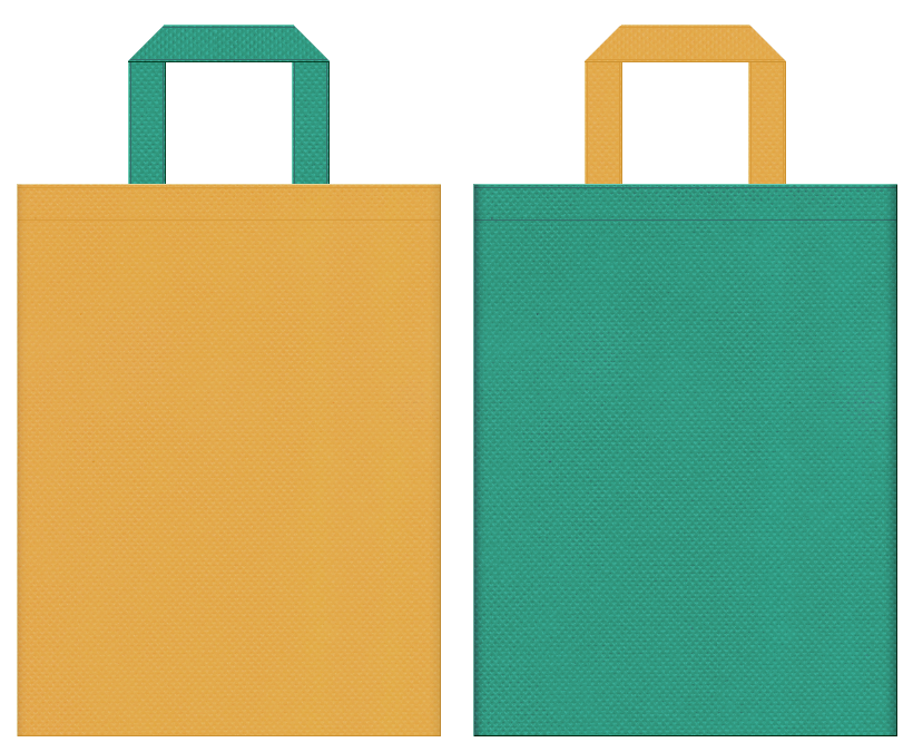 不織布バッグの印刷ロゴ背景レイヤー用デザイン:黄土色と青緑色のコーディネート