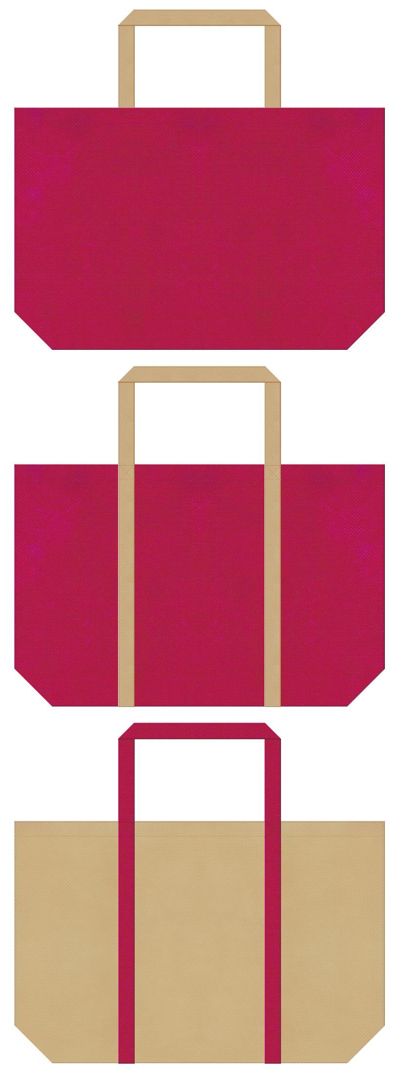 南国・リゾート・アイランド・トロピカル・カクテル・観光土産のショッピングバッグ・トラベルバッグ・ハワイアン・アロハシャツ・水着のショッピングバッグにお奨めの不織布バッグデザイン:濃いピンク色とカーキ色のコーデ