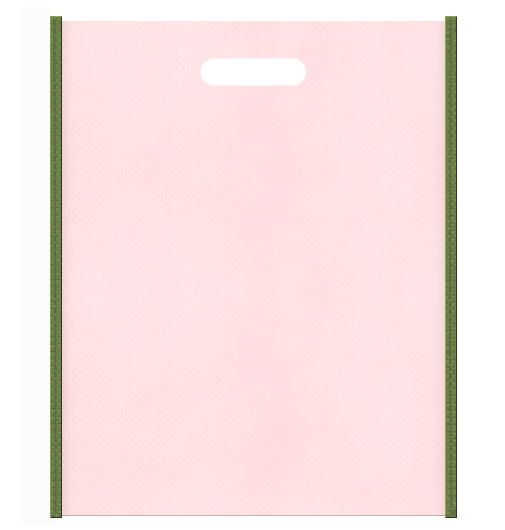 和風柄にお奨めの不織布小判抜き袋デザイン:メインカラー桜色とサブカラー草色