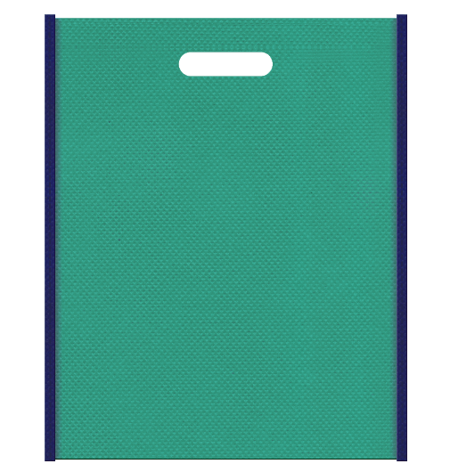 不織布バッグ小判抜き メインカラー青緑色とサブカラー明るめの紺色